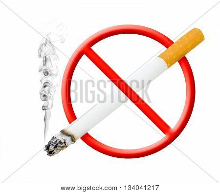 A photographic version of the 'no smoking' symbol with smoke rising off cigarette