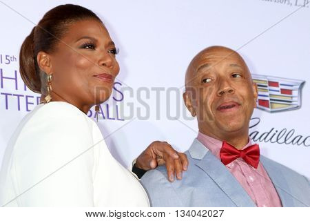 LOS ANGELES - JUN 11:  Queen Latifiah, Russell Simmons at the 15th Annual Chrysalis Butterfly Ball at the Private Residence on June 11, 2016 in Brentwood, CA