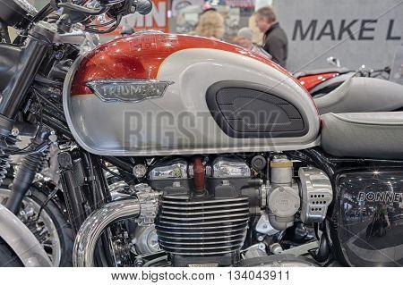 BRNO, CZECH REPUBLIC-MARCH 4,2016: Close up of of motorcycle Triumph Bonneville T120 on International Fair for Motorcycles on March 4, 2016 in Brno in Czech Republic