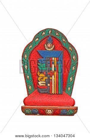 Tibetian souvenir on a white background. Buddism