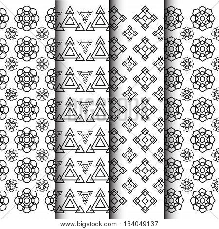 black and white geometric in flower shape pattern isolated on white background