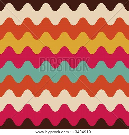 retro colorful wave seamless pattern, multicolor background