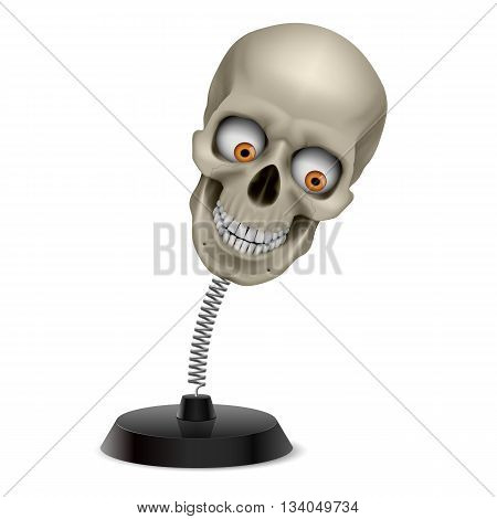 Table souvenir with grinning human skull on spring poster