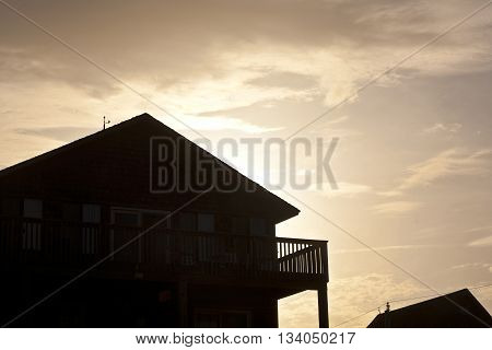 motel in the outer banks USA in sunset