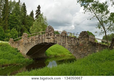 Russia.Pavlovsk Park.A beautiful natural place.There is an old bridge built long ago.