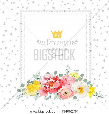 Square vector design frame with bouquet of wild rose ranunculus daffodil narcissus carnation and eucaliptus leaves. Speckled triangle confetti backdrop. All elements are isolated and editable.