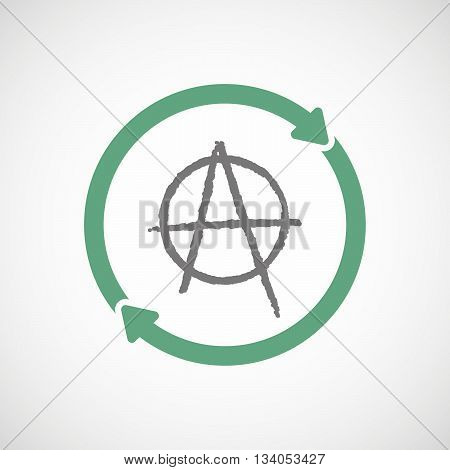 Illustration of an isolated reuse line art sign with an anarchy sign poster