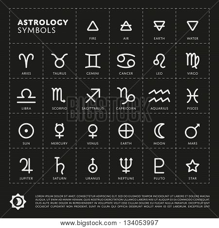 Vector Astrology Signs of the zodiac. Planet the Solar system. Four elements