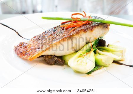 grilled barramundi steak with sweet sauce