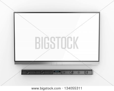 Front view of flat screen tv and soundbar, 3D illustration