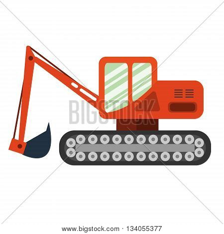 Red excavator on white background. Excavator in flat style. Agricultural Excavator.Agricultural vehicle and farm machine. Excavator illustration-business concept. Agriculture machinery.