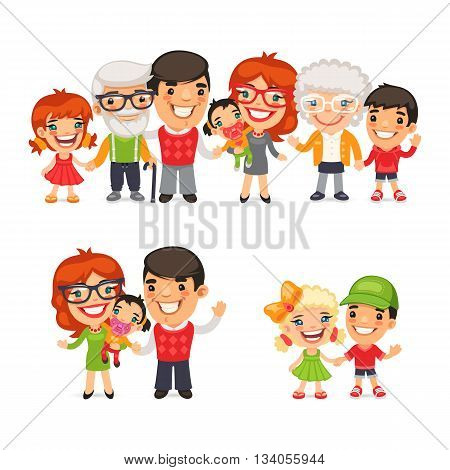 Big and happy family flat cartoon characters set. Isolated on white background. Clipping paths included.
