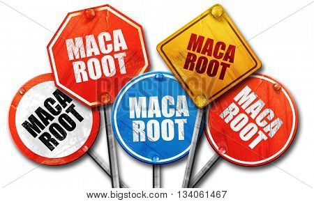 maca root, 3D rendering, rough street sign collection