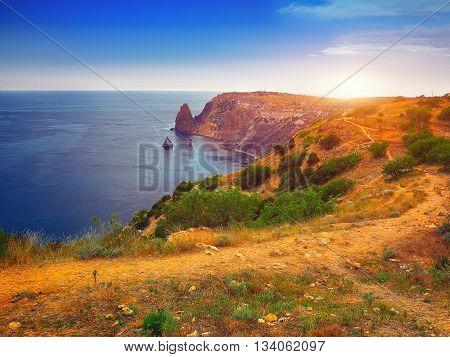 Fiolent Crimea - sea landscape. Sea view - Mountains surround the bay