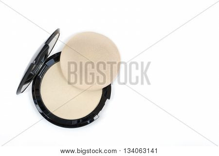 Top View Makeup Pressed Powder And Puff