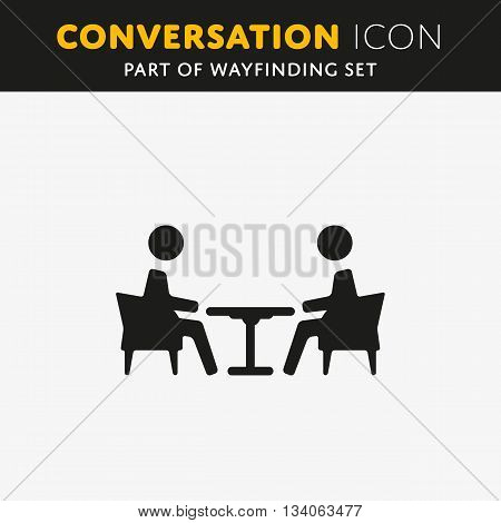 Vector illustration of two people talk face to face, communication, social media concept