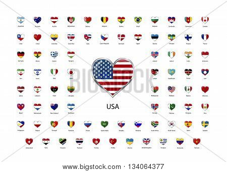 Set of heart shaped glossy icons with metallic border of flags of world sovereign states