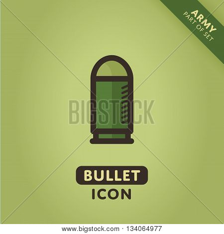 Vector bullet icon. Ammo sign. War symbol