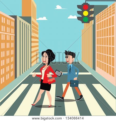 People on the Crosswalk. Businessman Goes to Work. Smiling Woman Crossing the Street. Vector illustration