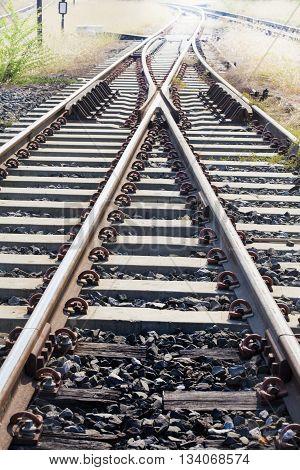 old railroad tracks at railway station transportation