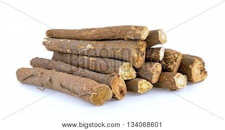 Liquorice roots isolated on a white background