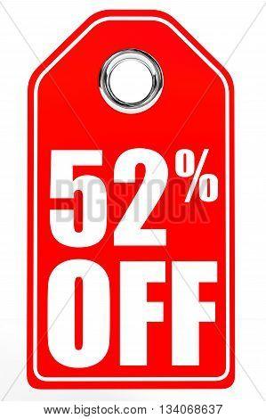 Discount 52 Percent Off. 3D Illustration.
