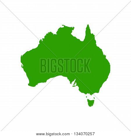Map of Australia silhouette vector illustration isolated on white background.
