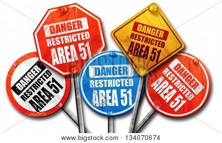 area 51 sign, 3D rendering, rough street sign collection