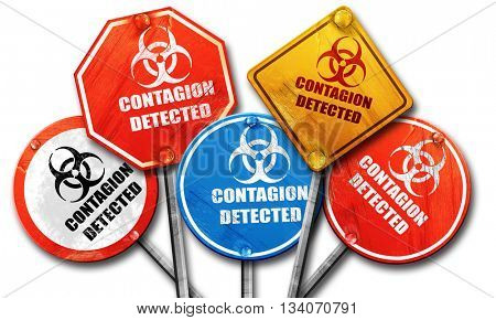 Contagion concept background, 3D rendering, rough street sign co