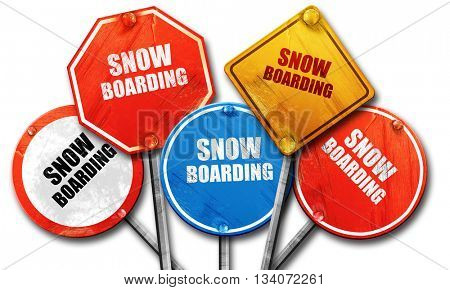 snowboarding sign background, 3D rendering, rough street sign co