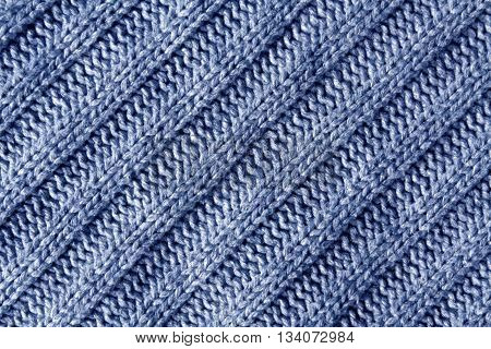 Abstract Blue Knitted Cloth Texture.