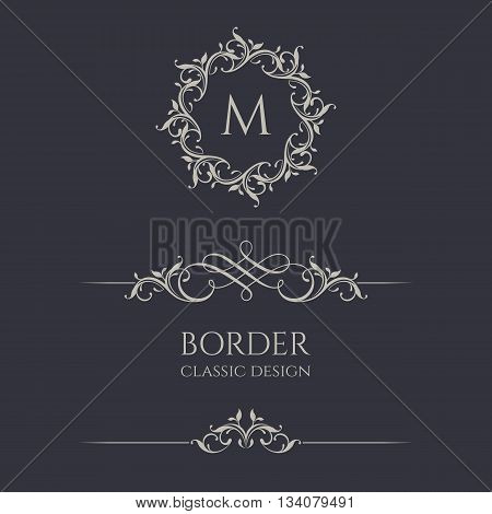 Floral monogram M and border. Graphic design pages, business sign, boutiques, cafes, hotels. Classic design elements for wedding invitations.