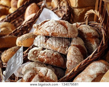 Basket of bread in a bakers shop window