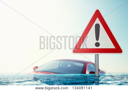 Caution Flood - Warning sign standing in flood water in front of a flooded car - computer generated image
