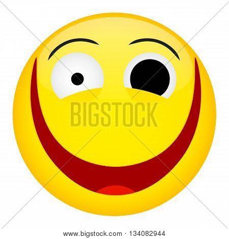Crazy laugh and fun emotion. Emoji emoticon illustration.