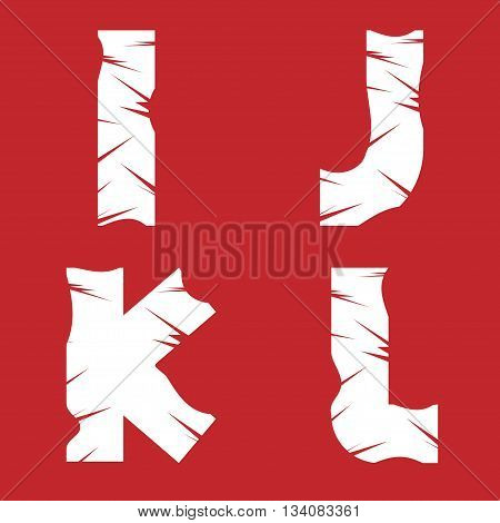 IJKL grunge letters. White scratch alphabet on the red background