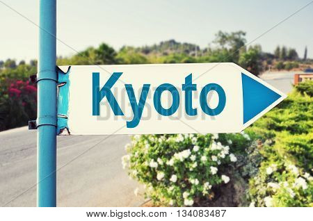 Kyoto, Japan Road Sign with beautiful nature and road on background