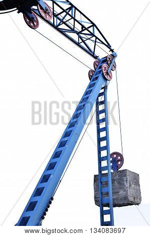 The counterweight hanging on structures cableway, isolated on white background