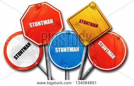 stuntman, 3D rendering, rough street sign collection