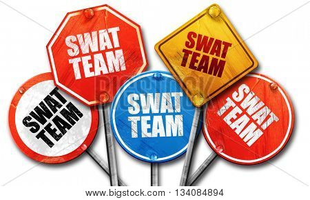 swat team, 3D rendering, rough street sign collection