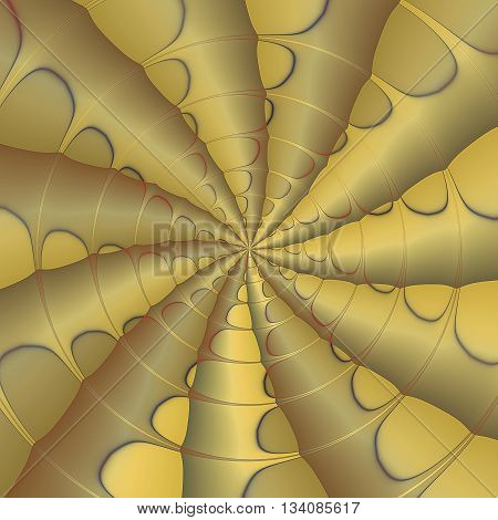 Abstract background of gold layered concentric stripes converging to one point