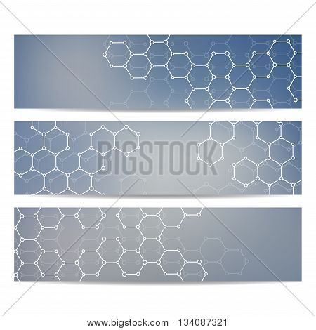 Set of modern science banners. Molecule structure of DNA and neurons. Medicine, science and technolog, business and website templates. Abstract background. Vector illustration for your design.