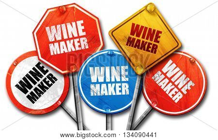 wine maker, 3D rendering, rough street sign collection