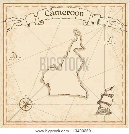 Cameroon Old Treasure Map. Sepia Engraved Template Of Pirate Map. Stylized Pirate Map On Vintage Pap