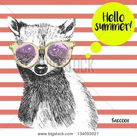 Vector close up portrait of raccoon wearing the sunglassess. Bright hello summer racoon portrait. Hand drawn wild mammal animal illustration. On background with peach echo strips.