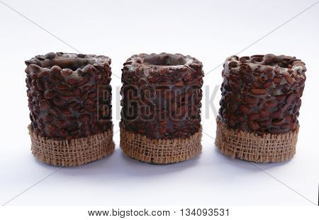 Coffee candles on a white background photo for microstock