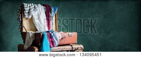 Colorful Female Clothing Scattered Trunk Turquoise