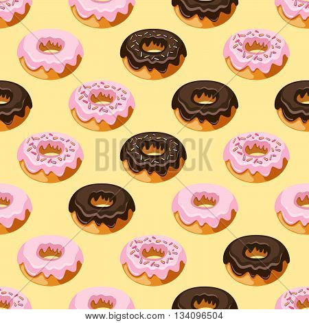 Vector Seamless Pattern. Modern Stylish Hand Drawn Repeating Texture With Structure Of Ring Donuts G