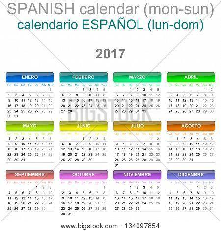2017 Calendar Spanish Language Version Monday To Sunday