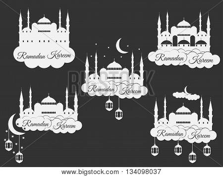 Ramadan Kareem, Blue Mosque, Minaret, Lantern And Moon, Muslim Holiday Lights. Set Isolation Banners